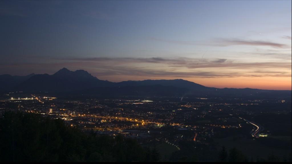 timelapse city salzburg austria sunset