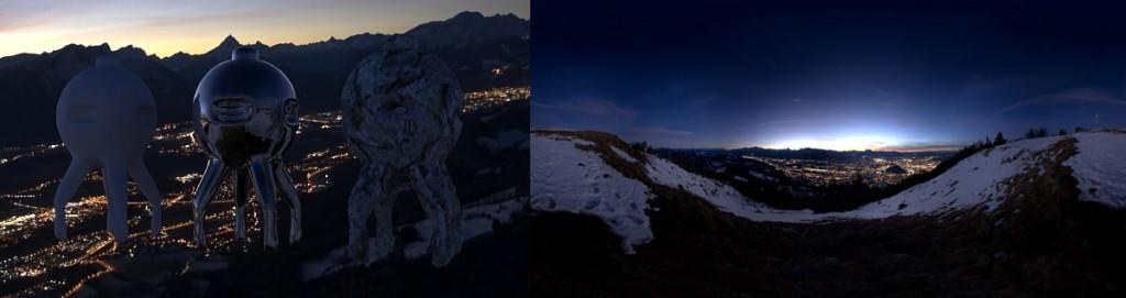 HDRI 360 degree gaisberg at night salzburg