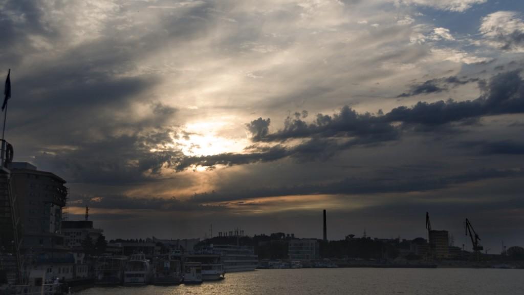 Timelapse sunset in romania tulcea