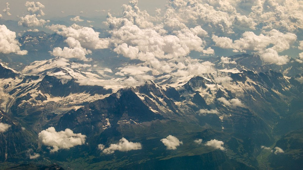 Aerial footage glacier middle europe