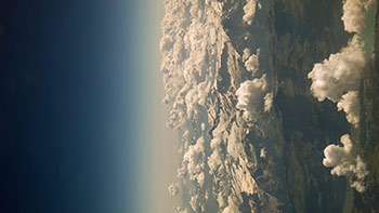 Aerial mountains and clouds