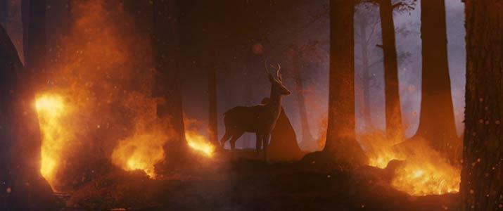 Deer standing in Burning Forrest