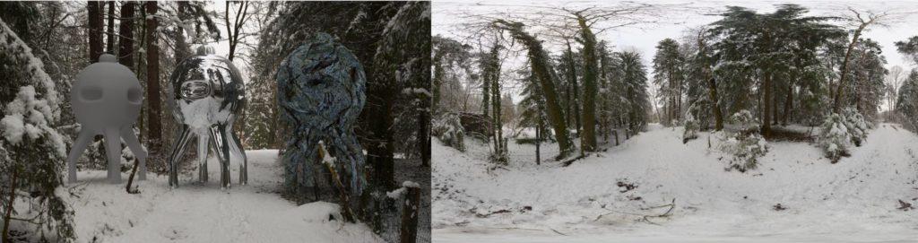 HDRI / 360° winter snowy path