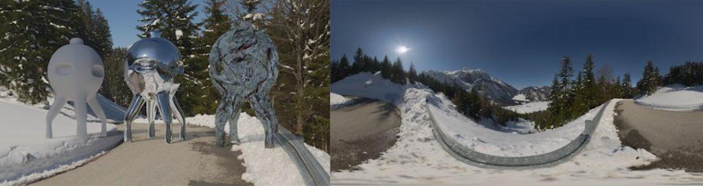 HDRI / 360° Winter road on a mountain near Abtenau