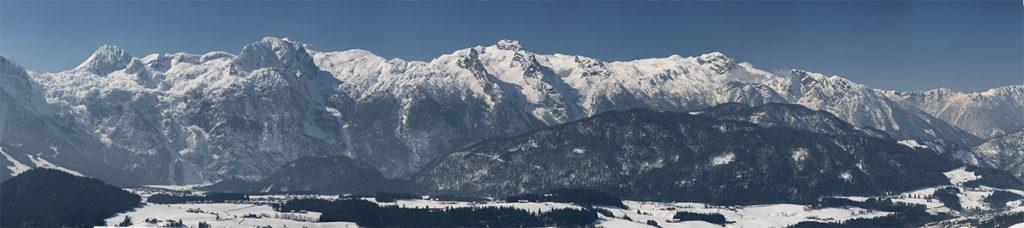 Panorma alps Austria near Abtenau in late winter