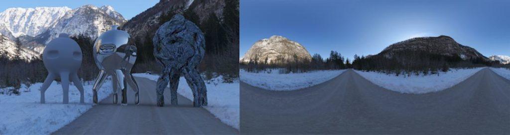HDRI / 360° snowvalley golling