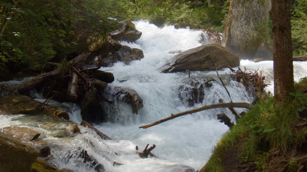 alpine mountain stream slowmotion